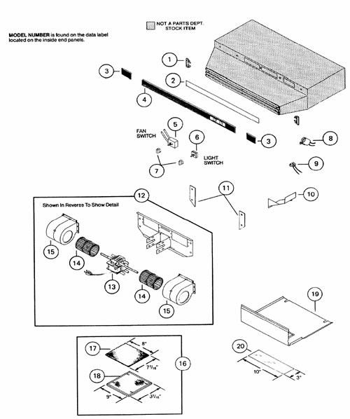 NuTone NN8100F Range Hood Parts