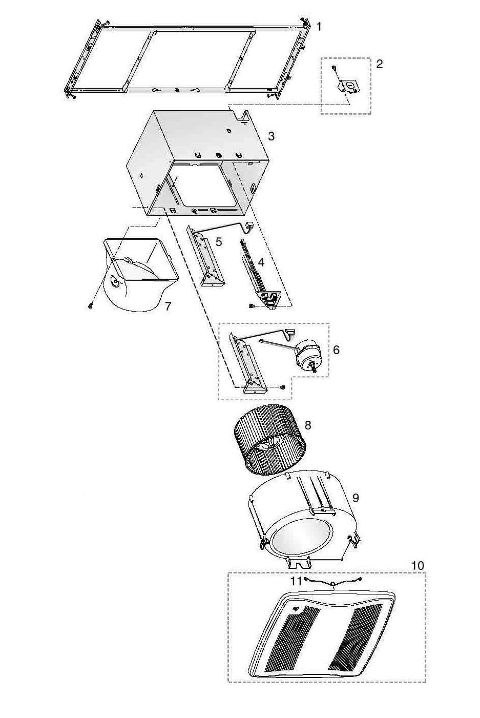 Broan ZB110HL Bathroom Fan 110 Cfm Parts