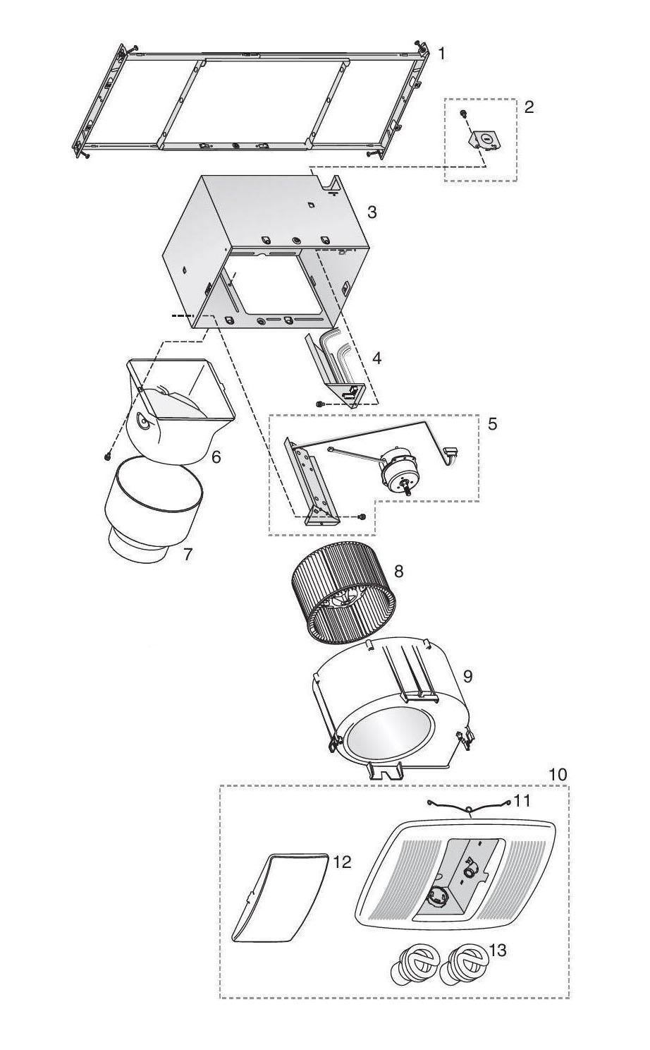 Broan ZB80L Bathroom Fan 80 Cfm Parts