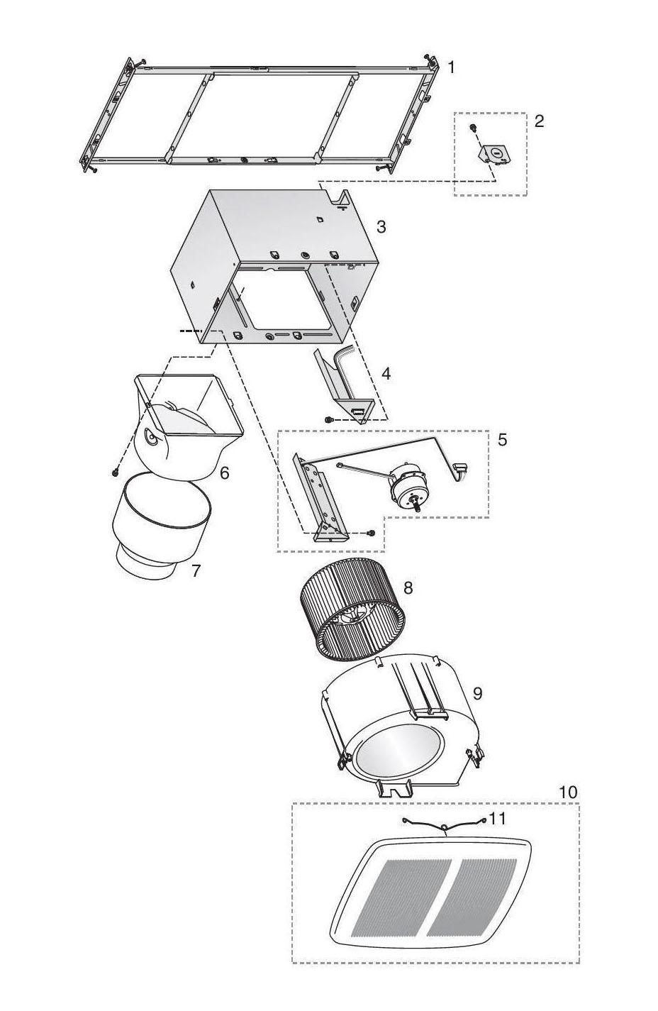 Broan ZB80 Bathroom Fan 80 Cfm Parts