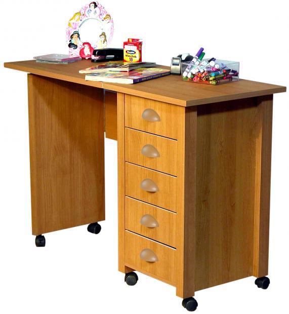 Mobile Desk Craft Table Oak