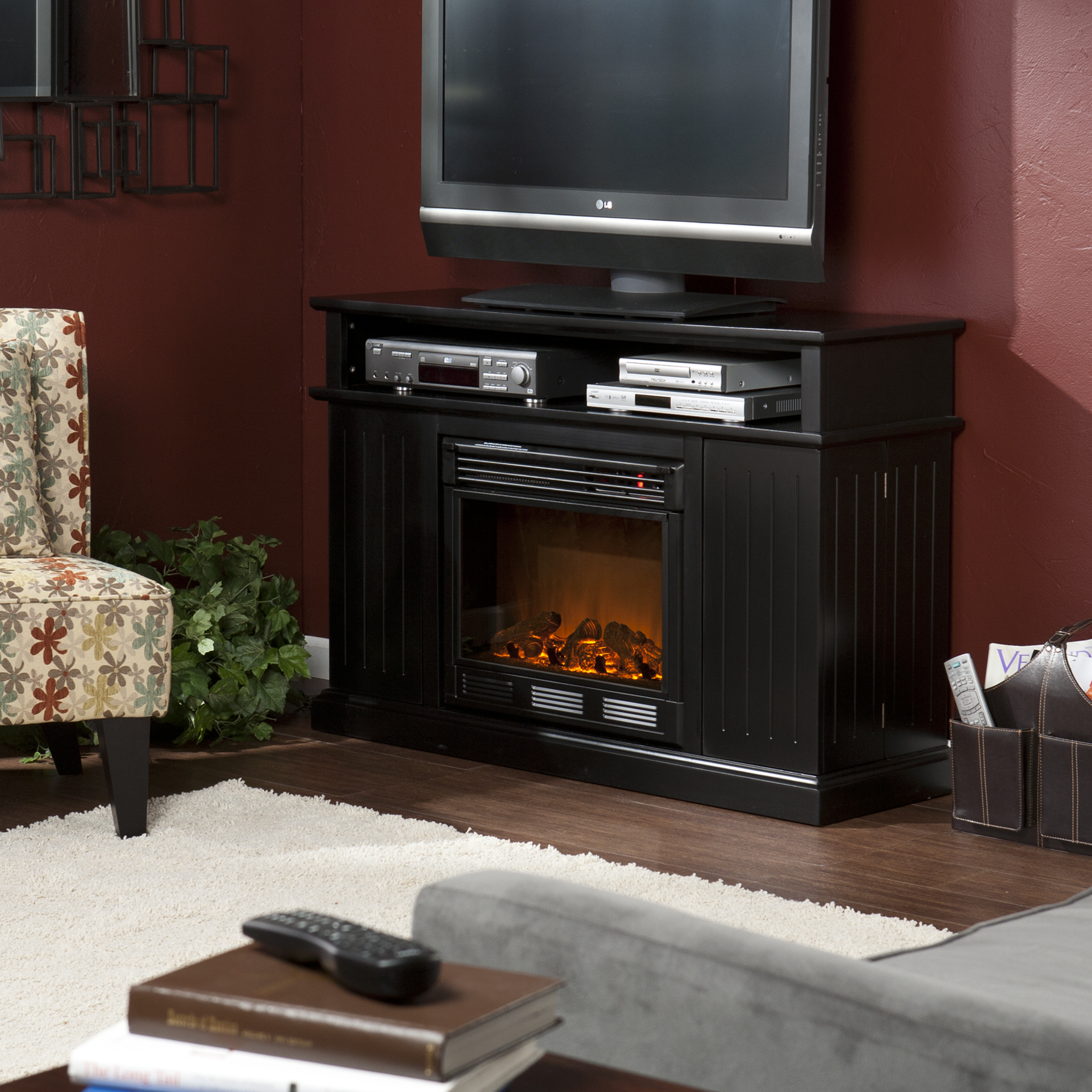 living room entertainment wall ideas grey wooden flooring holly & martin™ fenton media electric fireplace-black ...