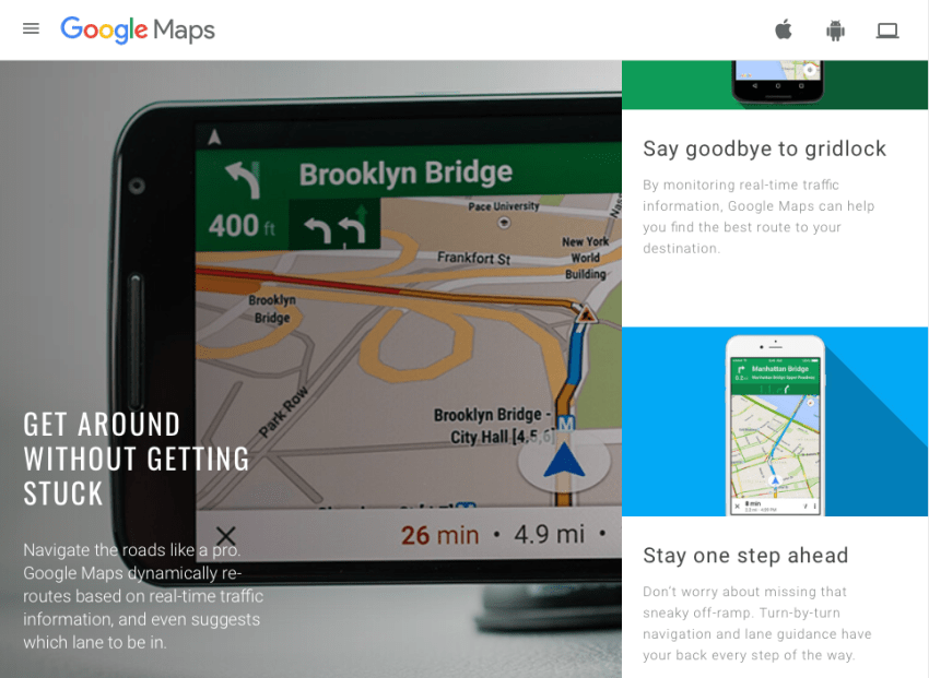 Google Maps marketing site