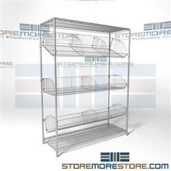 Angled Wire Basket Racks Tilted Positioning Shelves Chrome Supply Shelving Quantum 2448BC6C