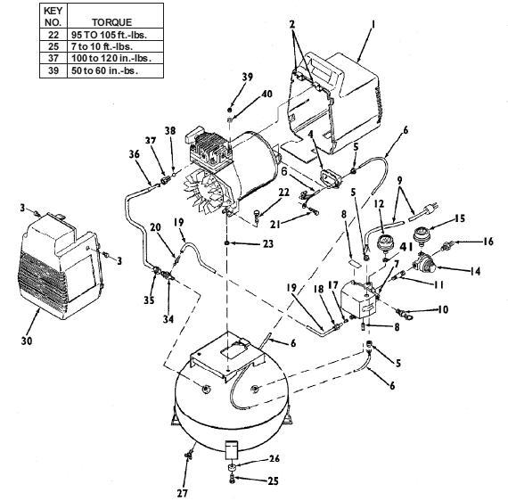 DEVILBISS MODEL 100E4D OIL FREE AIR COMPRESSOR BREAKDOWN