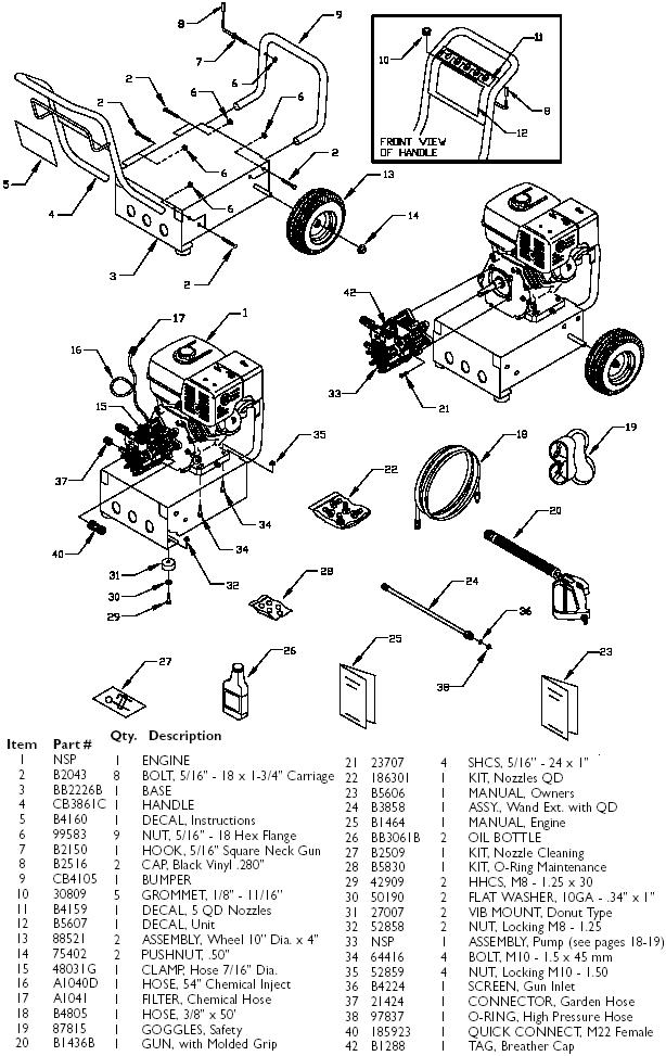 Generac Pressure Washer model 1418-0 replacement parts