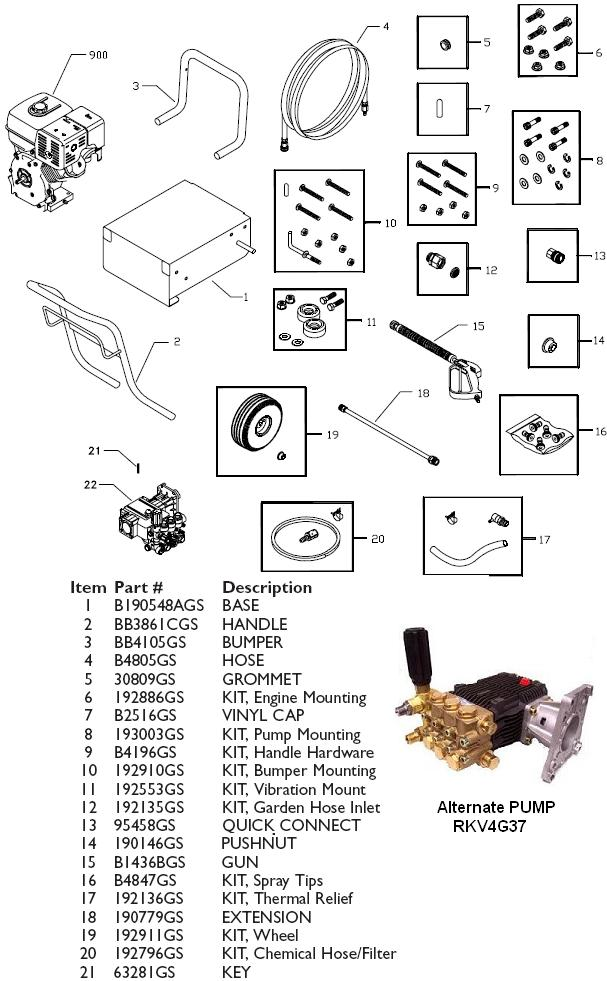 Generac pressure washer model 1540-0 replacement parts