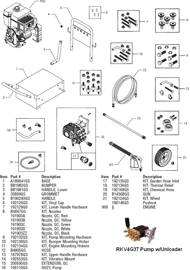 Briggs & Stratton Model 1780,HPP1780,BPW3500 replacement