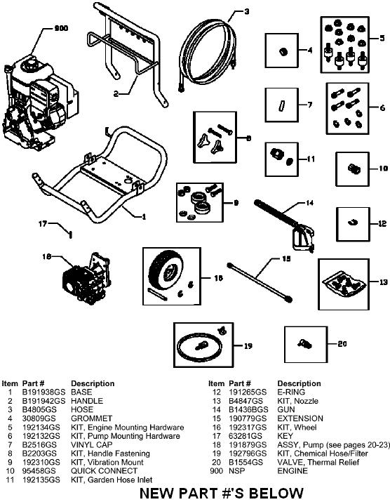 Sears Craftsman pressure washer model 580753400 breakdowns