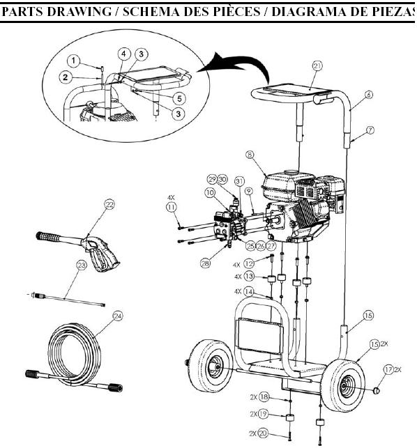Coleman Pressure Washer Model PW0872600 Replacement parts