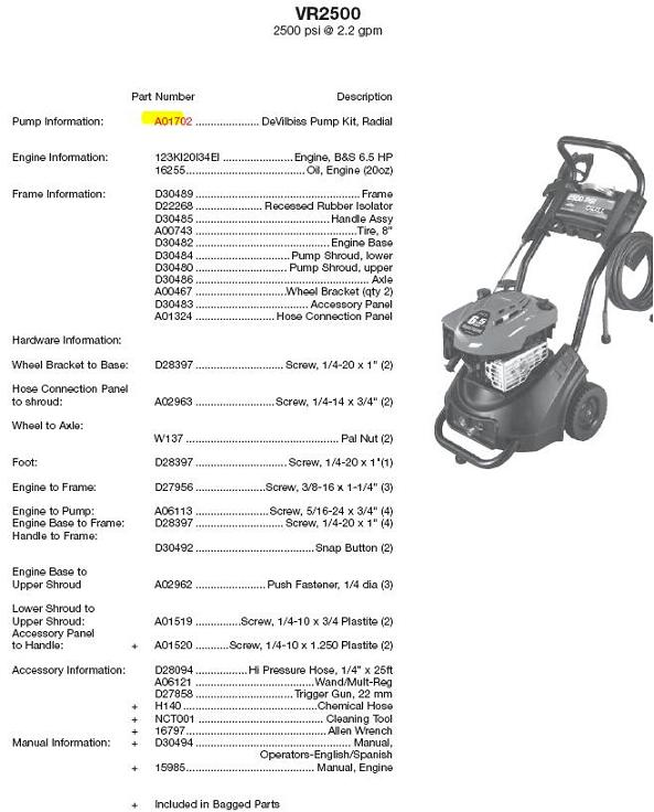 Excell pressure Washer Model VR2500 Replacement Parts