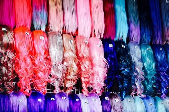 Haarausfall Perücken lang Kunsthaar bunt