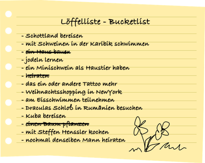 Löffelliste Bucket List