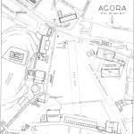 Agorà di Atene nella metà del IV Secolo a.C. - sul lato orientale gli edifici A,B,C,D per gli iter dei processi civili