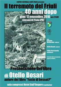 Locandina presentazione libro Terremoto di Otello Bosari