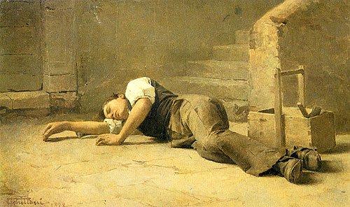 Francesco Ghittoni, Giovane operaio che riposa, 1879