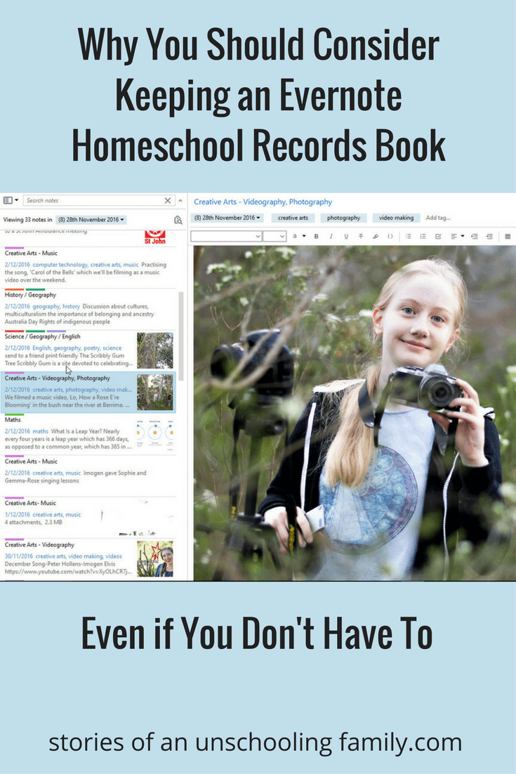 Why You Should Consider Keeping an Evernote Homeschool Records Book Even If You Don't Have To