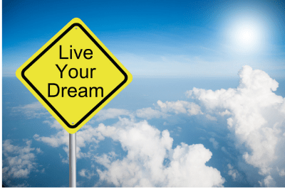 Live your dream! Sign in clouds