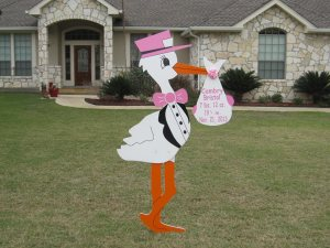 Girl Stork Sign Rental Stork Lady Signs San Antonio, TX 210-601-7351