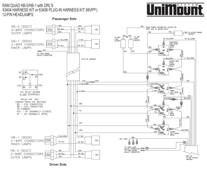 26027 western unimount hb1/hb5 headlight harness dodge ram 99 dakota  durango 2000