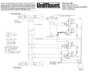 62917 Western Unimount HB1 Headlight harness kit Dodge