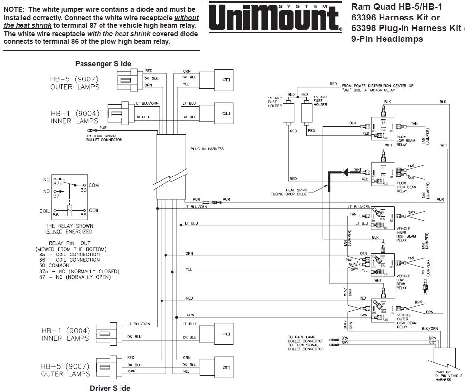 western snow plow wiring diagram ford generator diagrams 63396 unimount hb-1/hb-5 headlight harness kit dodge ram 99+ dakota durango 2000+ 9 pin