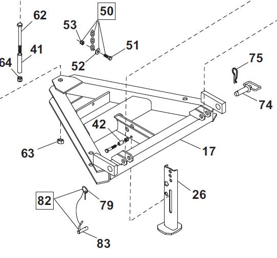 61353 Western Unimount Jack stand leg Plow uni-mount