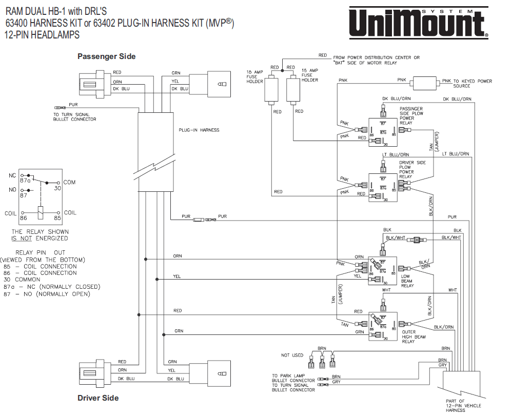 Ez Mount Meyer Plow Wiring Diagram 63402 Mvp Western Fisher Unimount 99 Dodge 12 Pin