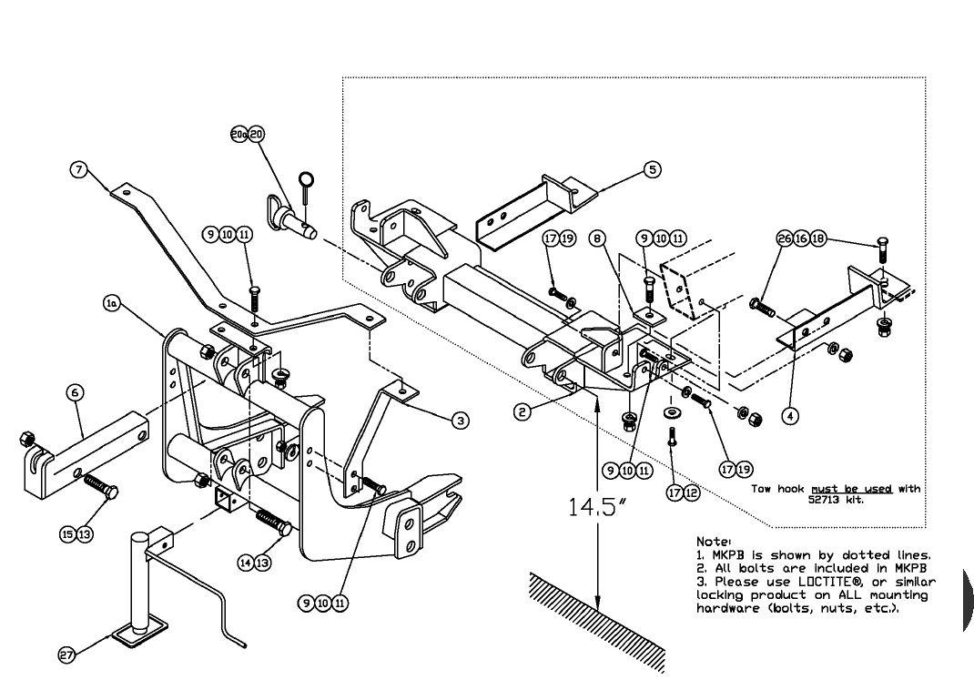52549-MKPB Arctic plow mount 1999-2002 Chevy GMC 2500 3500