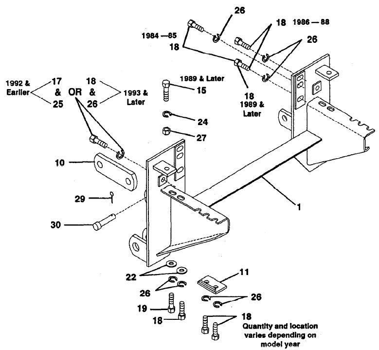 61870 84-95 Toyota Pick-up & 4runner Western Unimount plow