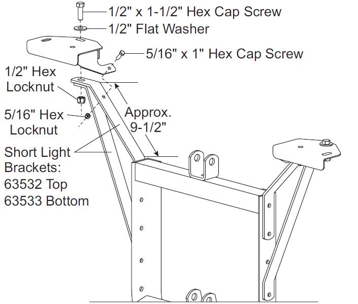 28340 Western Unimount Headlight Extension Brackets