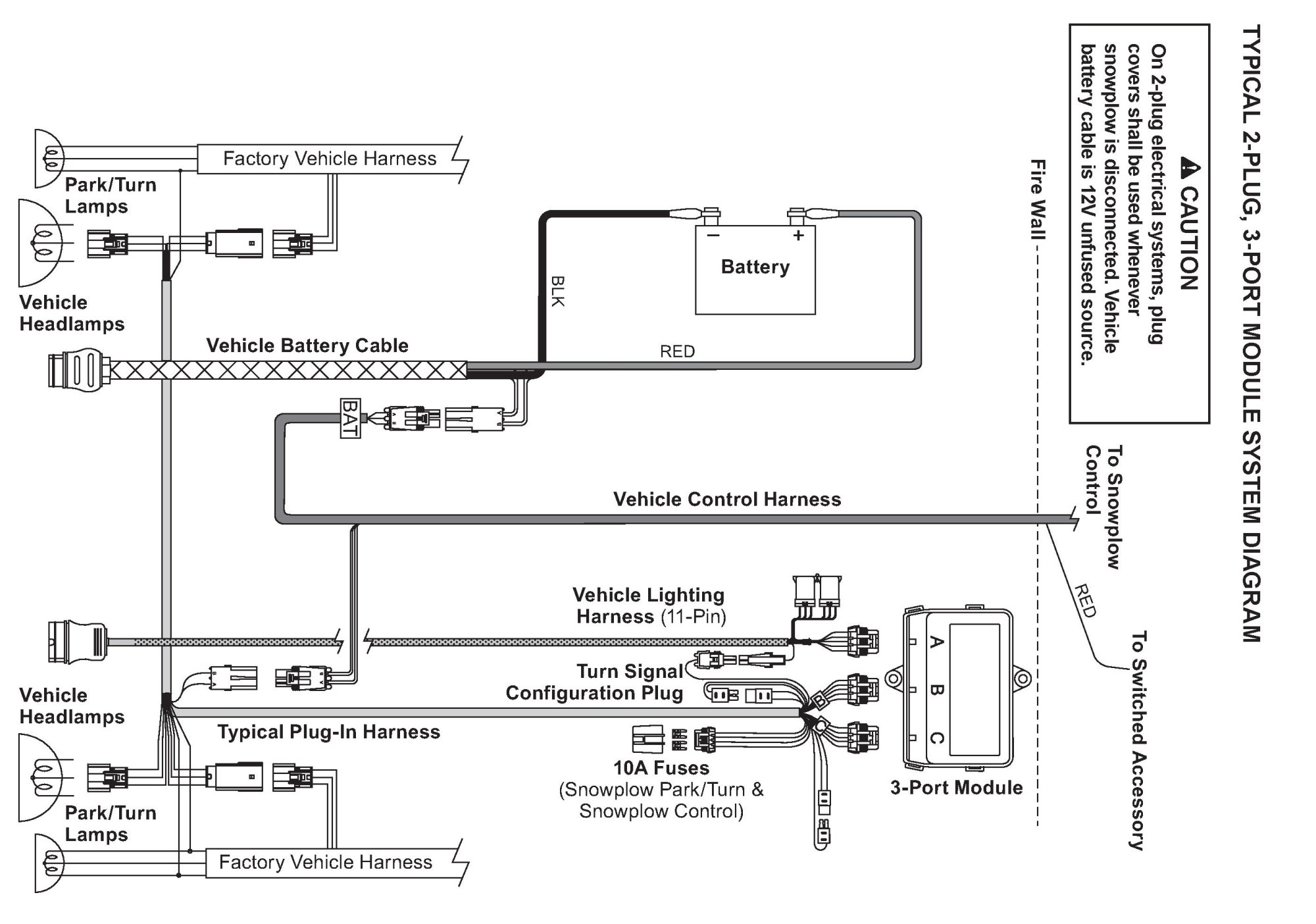 Western 3 Port Isolation Module Wiring Diagram - on