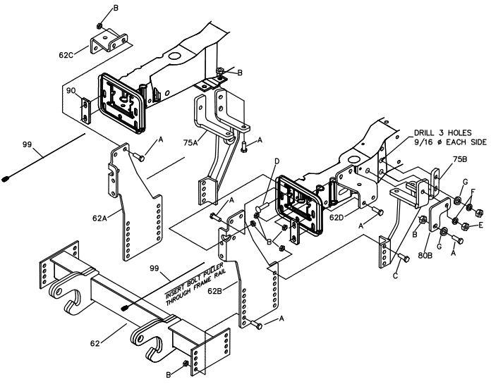 99-07 Ford F450 F550 10' Plow Boss Mount LTA07661B