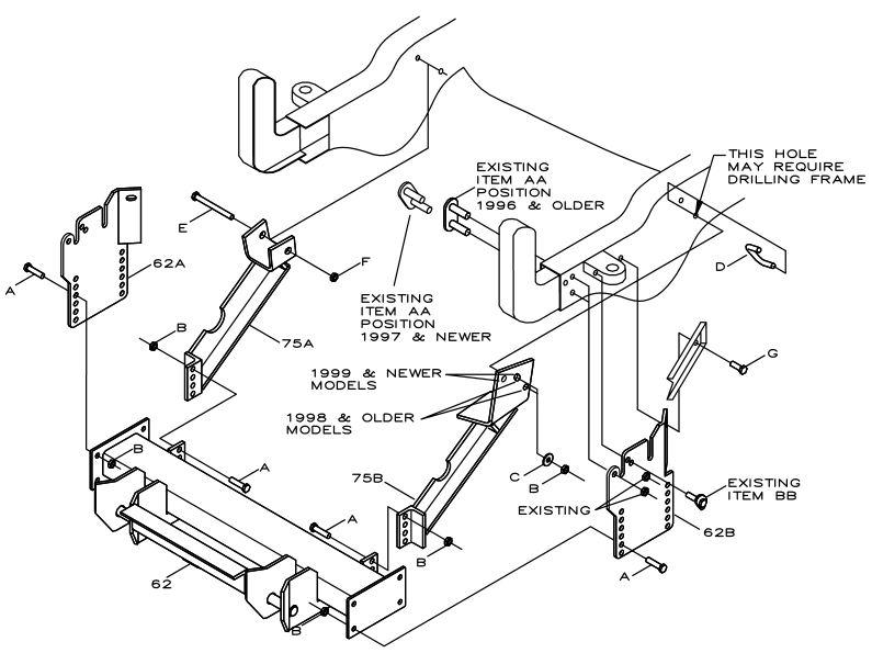LTA02638E Boss RT2 Plow Mount 1994-2002 Dodge