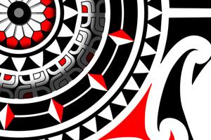 Polynesian Mandala Tattoo Design With Red Compass Sun