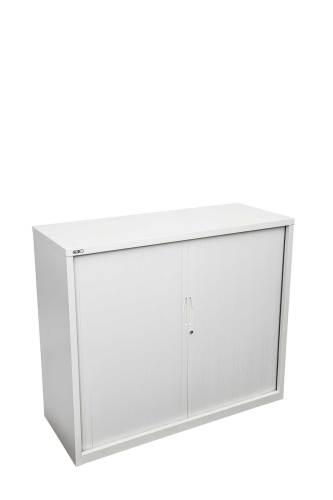 white tambour door cabinet