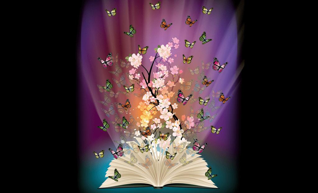 Картинки книжка и бабочки