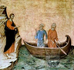 """""""Christ Calling the Apostles Peter and Andrew"""", from an altarpiece by Duccio de Buoninsegna, c. 1308-1311"""