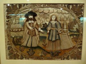 """""""Abraham casting out Hagar and Ishmael,"""" needlework in the Burrell Collection, Glasgow, Scotland"""