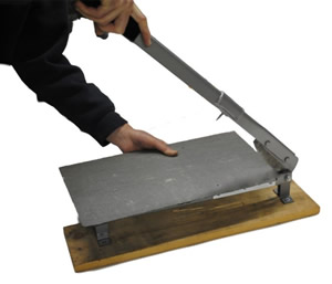 Positioning slate on a cutter