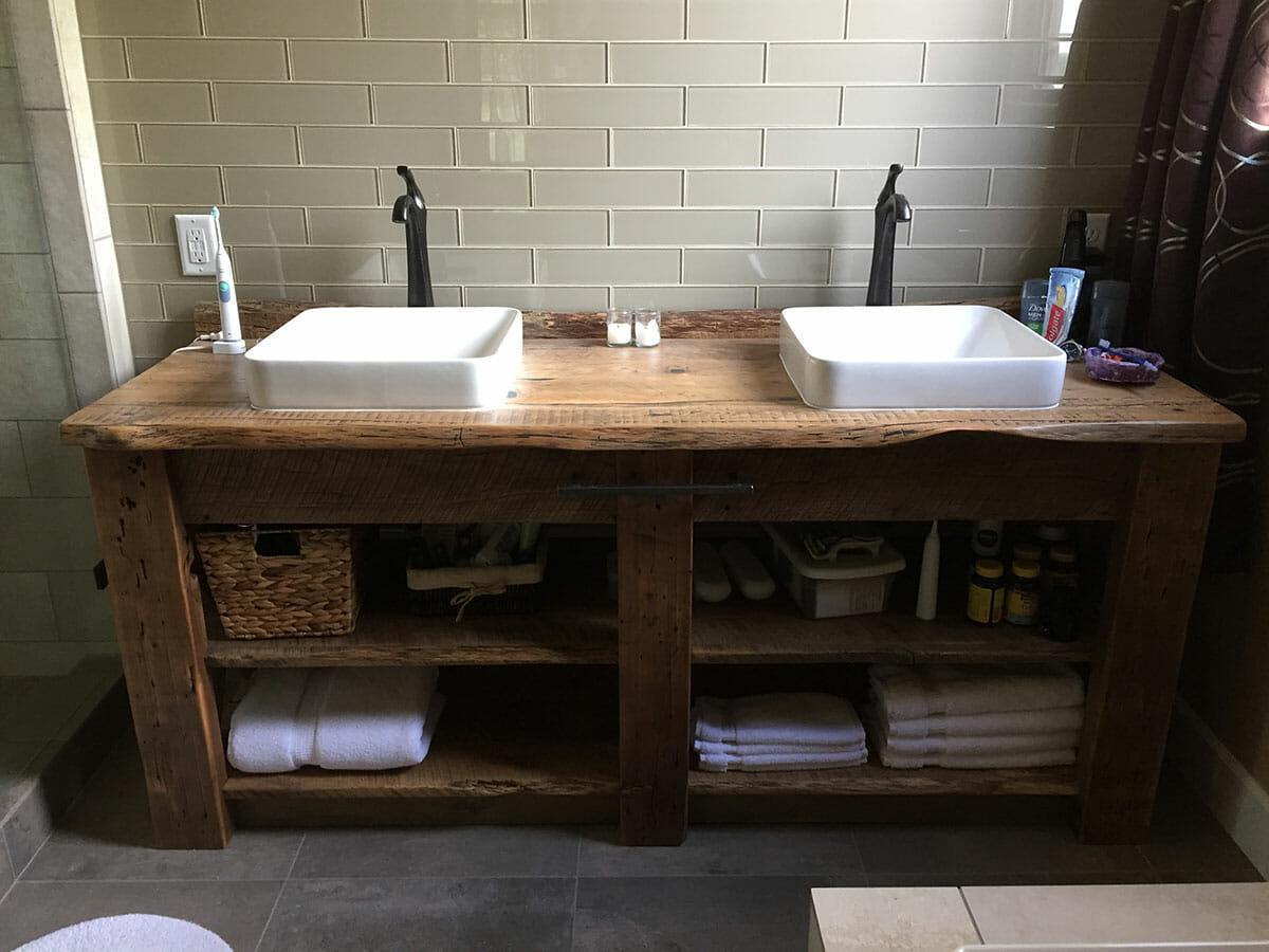 reclaimed wood bathroom vanity story