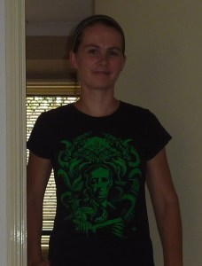 Me wearing my HP Lovecraft shirt, because I'm not at all nerdy or obsessed.