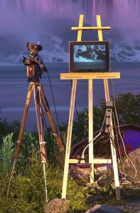 393px-MediatedReality_videocam_with_tv_on_easel_at_niagara_falls