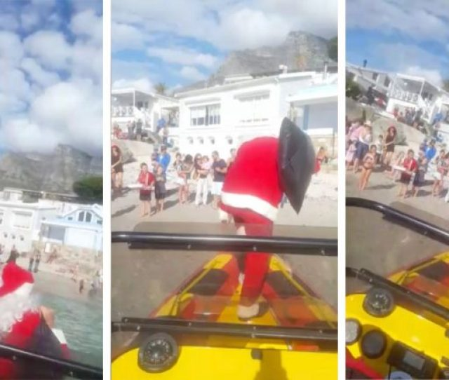 Video Of Santa Claus Falling Off Boat Into Sea Goes Viral