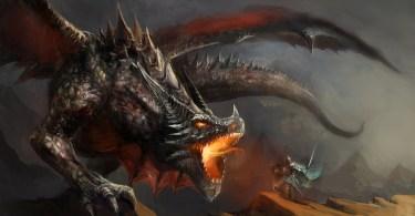 Knight fights roaring dragon