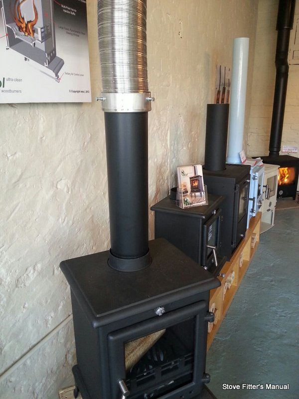 stove to flue to adaptor to liner