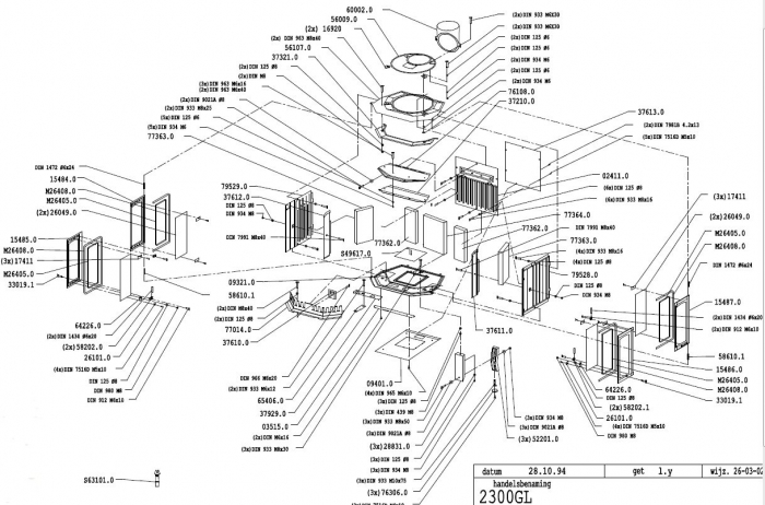 Exploded Diagram for Dovre 2300 woodburning stove