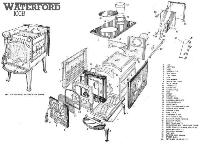 Exploded Diagram for Waterford 100B stove