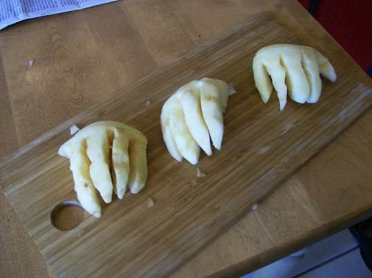 Apples cut into finger shapes