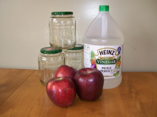 Jars, vinegar, apples